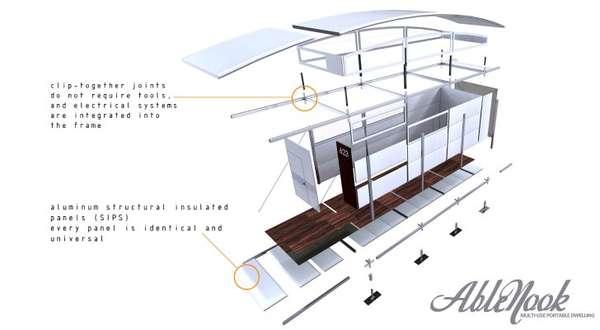 Ablenook Modulhaus zusammengesetzt aus Einzelteilen